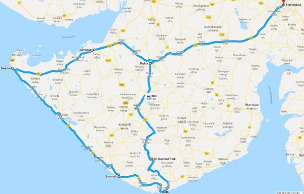 Dwarka Somnath Tour Route Map