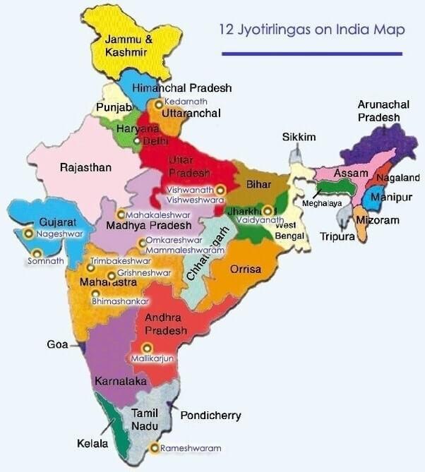 12 Jyotirlinga Map