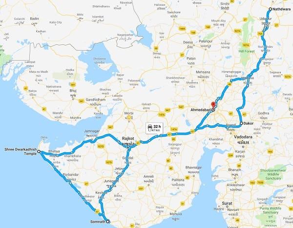 Panch Dwarka Route Map