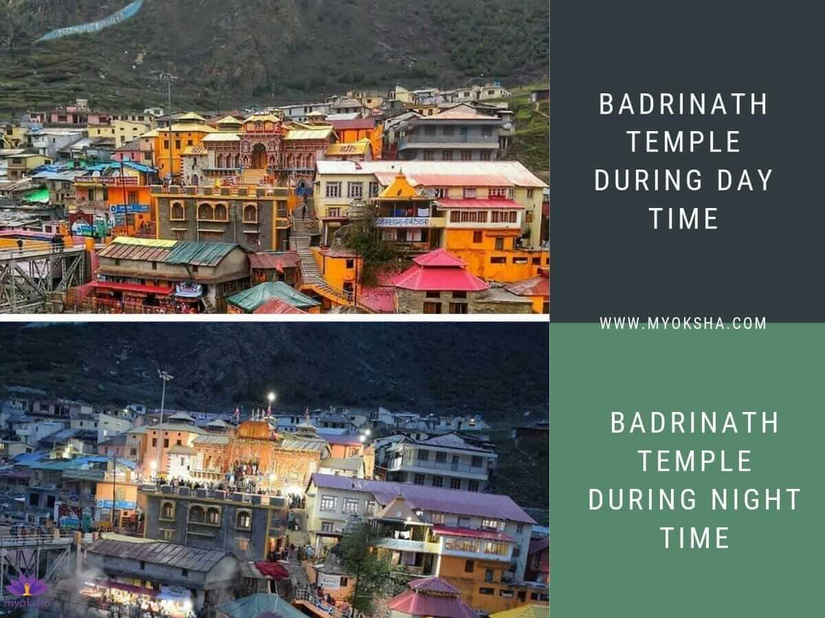 Badrinath Temple during Day and Night