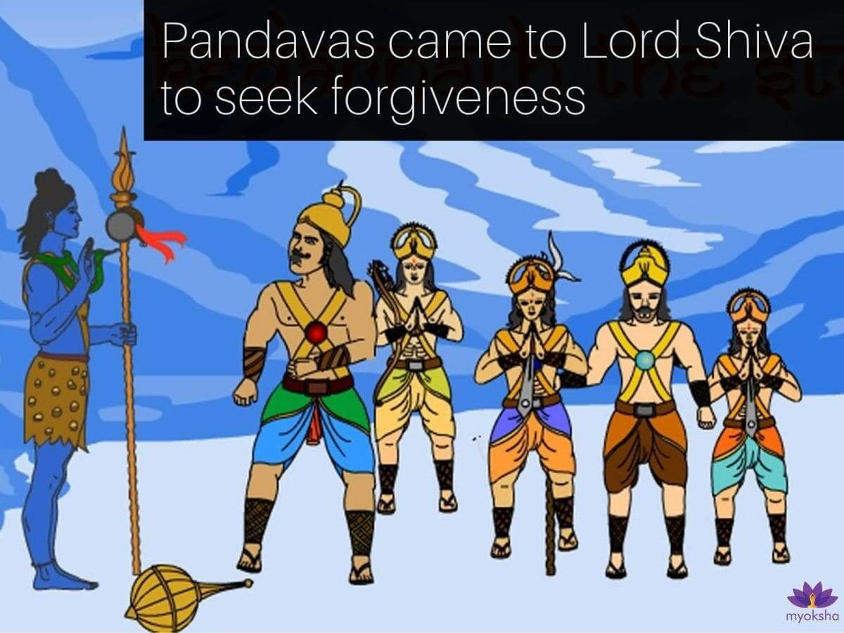Pandavas Brothers Seeking Forgiveness from Shiva