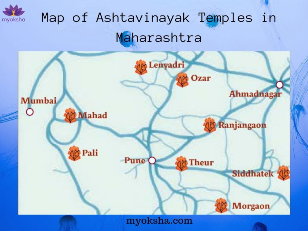 Map of Ashtavinayak Temples in Maharashtra