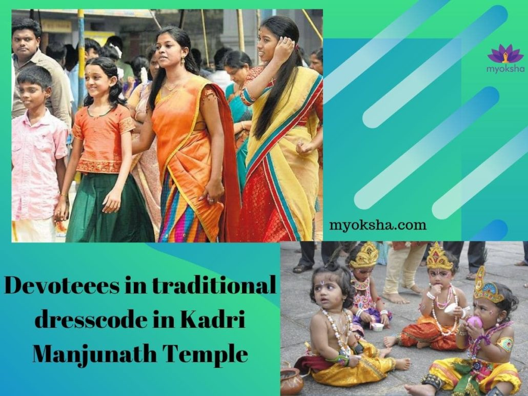 Devoteees in traditional dresscode in Kadri Manjunath Temple