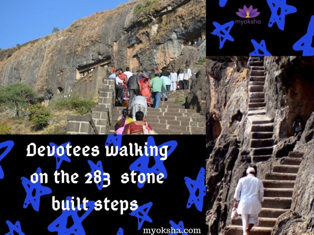Devotees walking on the 283 stone built steps.